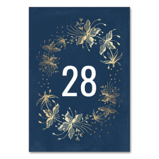 Vintage Navy and Gold Floral Wreath Wedding Card