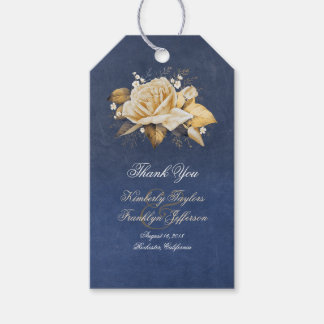Vintage Navy and Gold Flowers Wedding Gift Tags