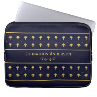 Vintage Navy Blue And Gold Book With Name Laptop Sleeve