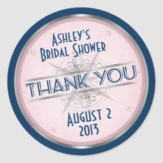 Vintage Navy Blue, Blush Pink Compass Wedding Round Sticker