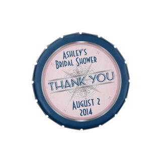 Vintage Navy Blue, Blush Pink Compass Wedding Tin Jelly Belly Candy Tins