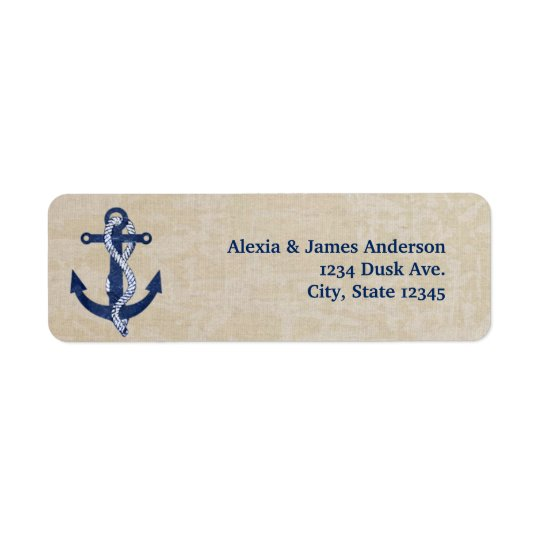 Vintage Navy Blue Nautical Anchor Address labels