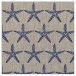 Vintage Navy Blue Starfish Monogram Coastal Linen Fabric