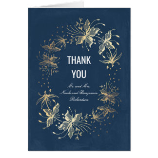 Vintage Navy Gold Floral Wedding Thank You Card