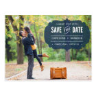 Vintage Navy Label Photo Save the Date Postcard