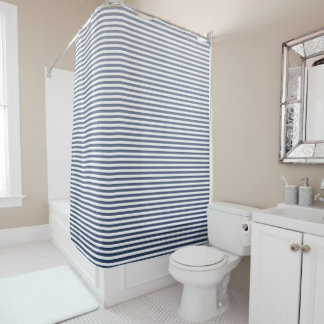 Vintage Navy Ombre Stripe Shower Curtain