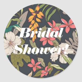 Vintage Navy Tropical Bridal Shower Labels Sticker