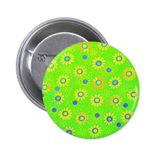 Vintage Neon Flower Power Image Pinback Buttons