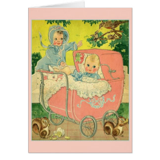 Vintage New Baby and Sibling Greeting Card