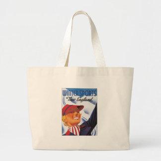 Vintage New England Winter Sports Jumbo Tote Bag