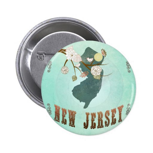 Vintage New Jersey State Map – Turquoise Blue Pinback Button