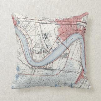 Vintage New Orleans Riverfront Jefferson Parish Throw Pillow