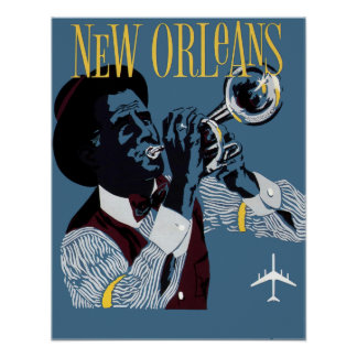 Vintage New Orleans Travel Jazz Trumpet Poster