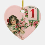 Vintage New Year Ceramic Heart Decoration
