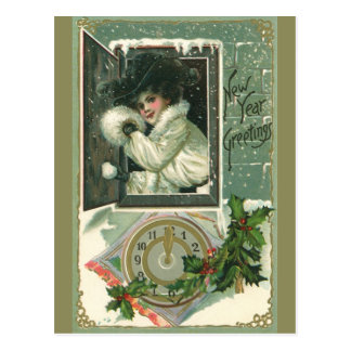 Vintage New Year Greetings, Victorian Window Girl Postcard