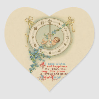 Vintage New Years Baby Clock Heart Sticker