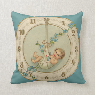 Vintage New Years Baby Clock Throw Pillow