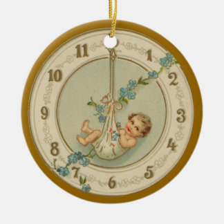 Vintage New Years Baby illustration painting Ceramic Ornament