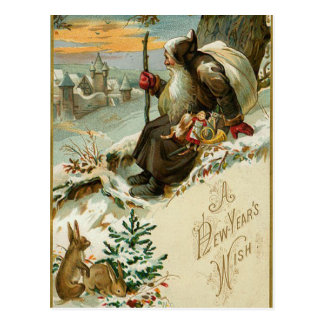 Vintage New Years Santa Postcard