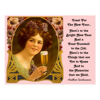 Vintage New Year's Toast Champagne Girl Postcards