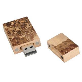 Vintage New York 1890 Wood USB 2.0 Flash Drive