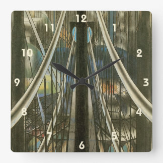 Vintage New York Architecture, Brooklyn Bridge Square Wall Clock