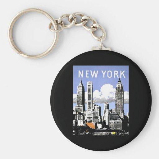 Vintage New York Basic Round Button Key Ring