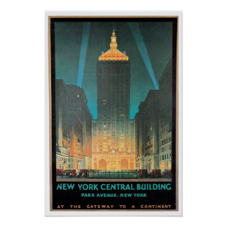 Vintage New York Central Building Travel Ad Poster