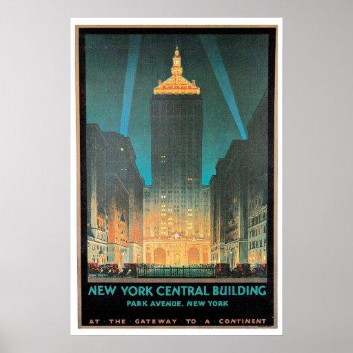 Vintage New York Central Building Travel Ad Print