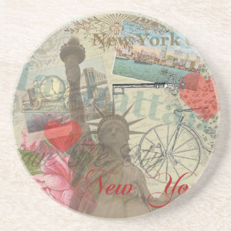 Vintage New York City Collage Coaster
