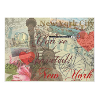 Vintage New York City Collage 11 Cm X 16 Cm Invitation Card
