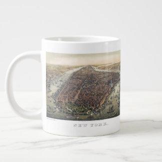Vintage New York City, Manhattan, Brooklyn Bridge Large Coffee Mug
