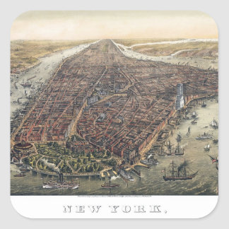 Vintage New York City, Manhattan, Brooklyn Bridge Square Sticker