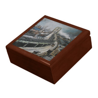 Vintage New York City Painting Brooklyn Bridge Gift Box
