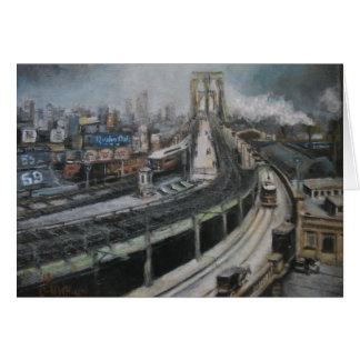 Vintage New York City Painting Brooklyn Bridge Greeting Card