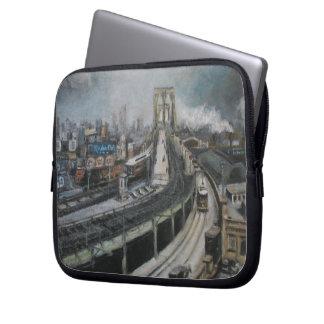 Vintage New York City Painting Brooklyn Bridge Laptop Computer Sleeve