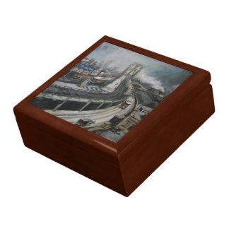 Vintage New York City Painting Brooklyn Bridge Large Square Gift Box