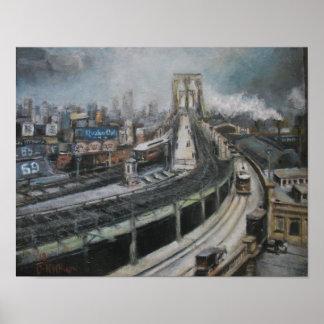 Vintage New York City Painting Brooklyn Bridge Poster