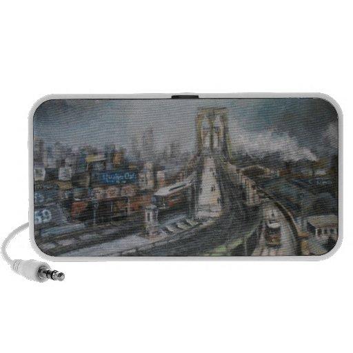 Vintage New York City Painting Brooklyn Bridge PC Speakers