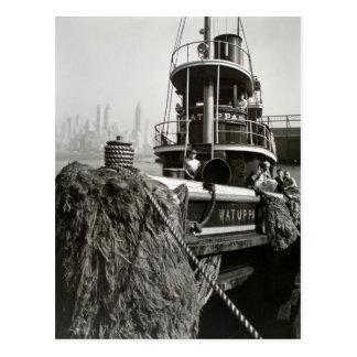 Vintage New York City Waterfront Tugboat Postcard