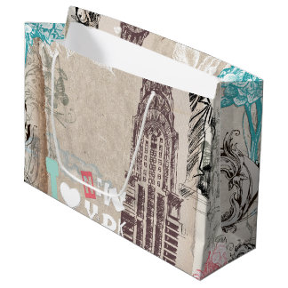 Vintage New York Design Large Gift Bag