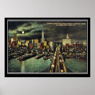 Vintage New York Manhattan 1910 Poster