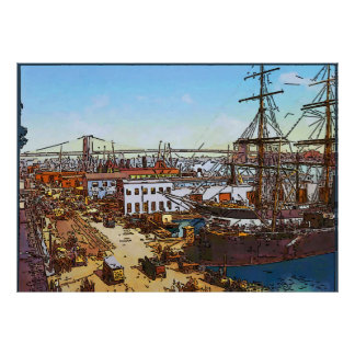 Vintage New York, Old Harbor Sailing Ships Poster