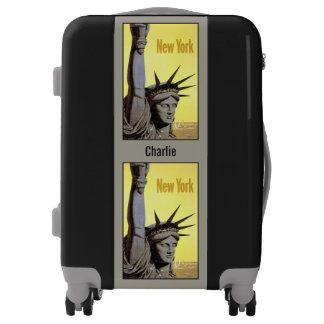 Vintage New York USA custom name luggage