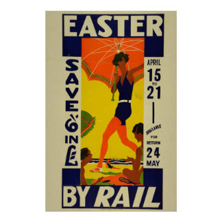 Vintage New Zealand Holiday Travel Easter Poster