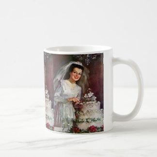 Vintage Newlywed Bride Cutting Her Wedding Cake Basic White Mug