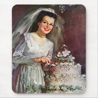 Vintage Newlywed Bride Cutting Her Wedding Cake Mouse Pads