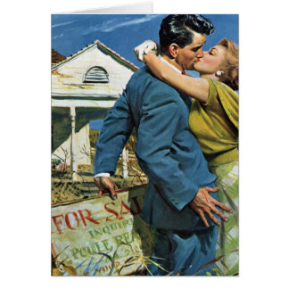Vintage Newlyweds Buy First House We re Moving Greeting Card