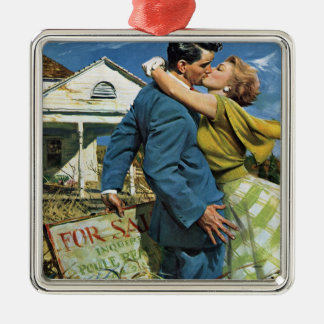 Vintage Newlyweds Buy First House, We're Moving! Silver-Colored Square Ornament
