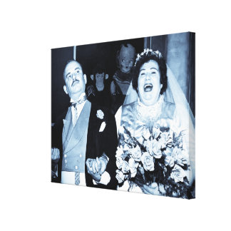 Vintage Newlyweds Just Married Gallery Wrapped Canvas